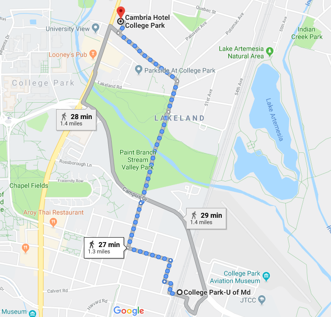 map from College Park Metro to Cambria